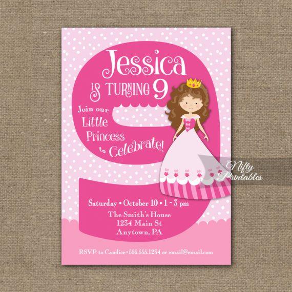 9th Birthday Invitation - Pink Princess Invitation