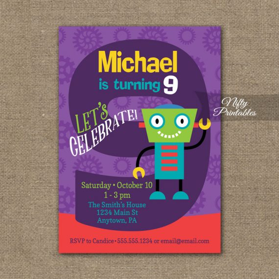 9th Birthday Invitation - Boys Robot Invitation