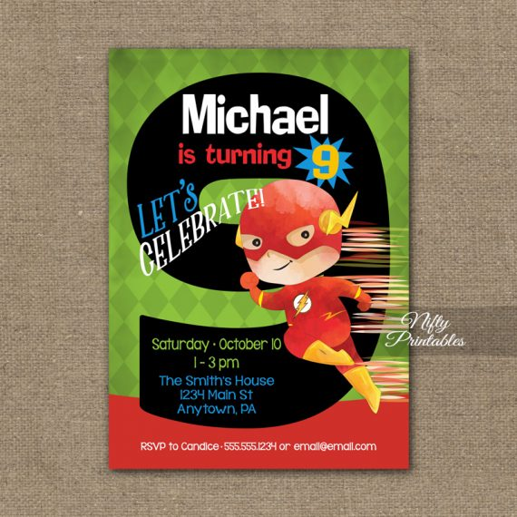 9th Birthday Invitation - Superhero Birthday Invitation