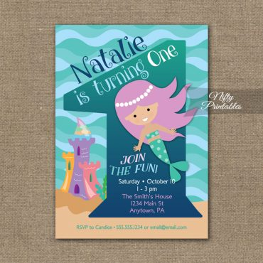 1st Birthday Invitation - Mermaid Birthday Invitations