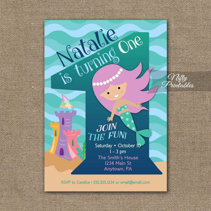1st Birthday Invitation Mermaid Invitations