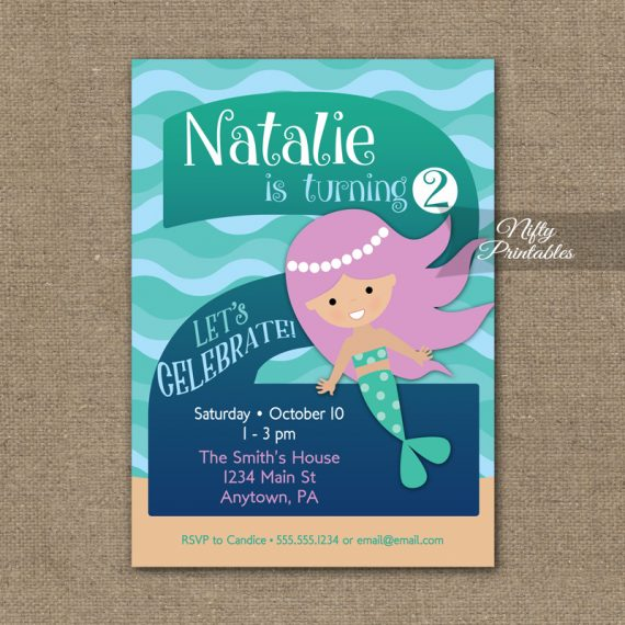 2nd Birthday Invitation - Mermaid Birthday Invitations