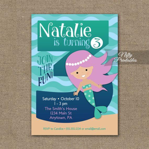 3rd Birthday Invitation - Mermaid Birthday Invitations