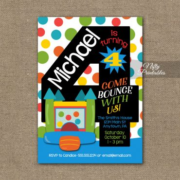 4th Birthday Invitation - Bounce House Invitations