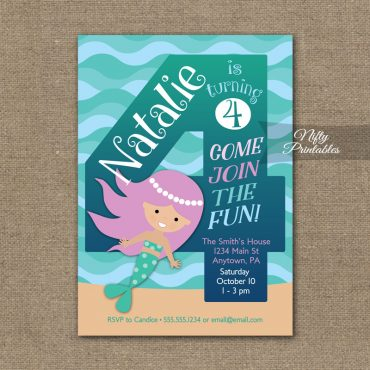 4th Birthday Invitation - Mermaid Birthday Invitations