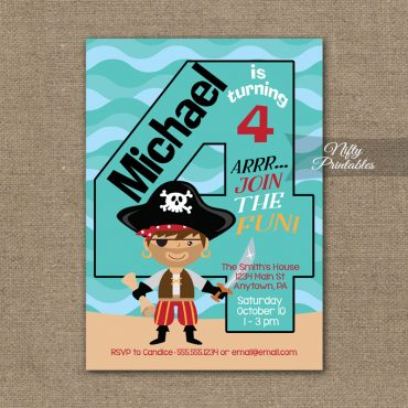 4th Birthday Invitation - Pirate Birthday Invitations