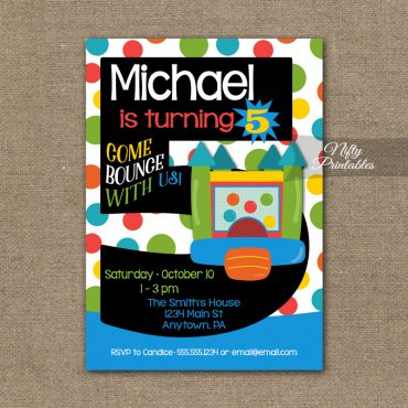 5th Birthday Invitation - Bounce House Invitations