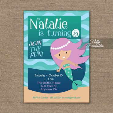 5th Birthday Invitation - Mermaid Birthday Invitations