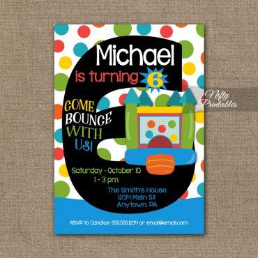 6th Birthday Invitation - Bounce House Invitations
