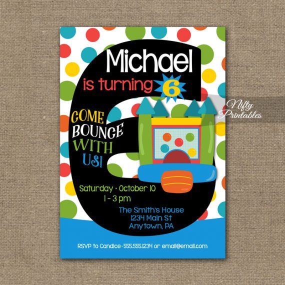 6th Birthday Invitation - Bounce House Invitations