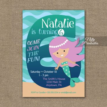 6th Birthday Invitation - Mermaid Birthday Invitations