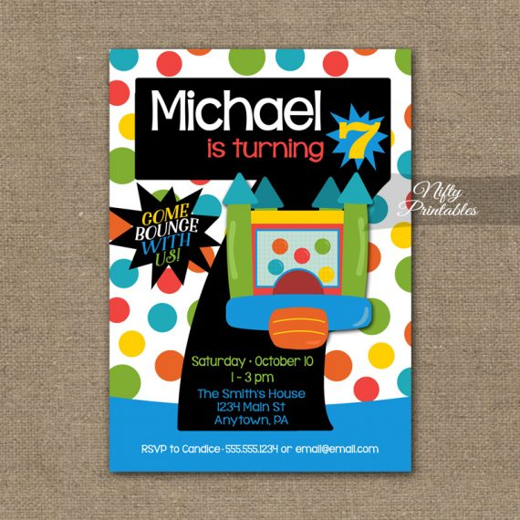 7th Birthday Invitation - Bounce House Invitations