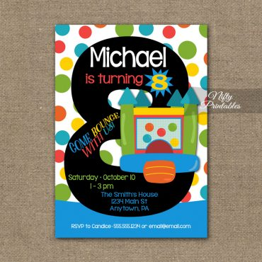 8th Birthday Invitation - Bounce House Invitations