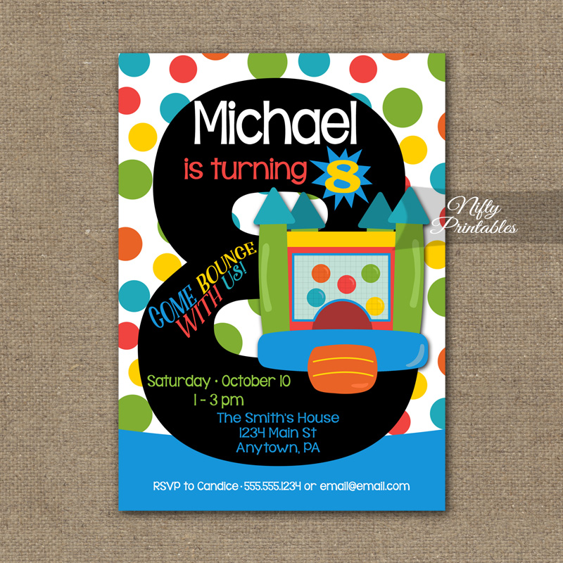 8th Birthday Invitation Bounce House Invitations