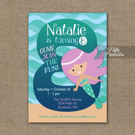 8th Birthday Invitation - Mermaid Birthday Invitations