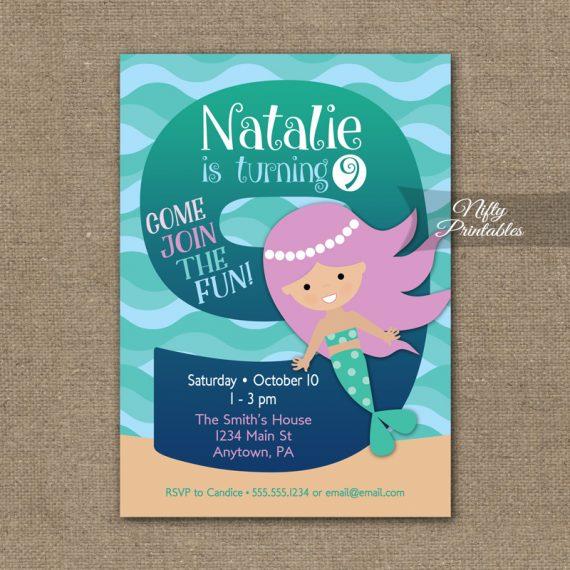 9th Birthday Invitation - Mermaid Birthday Invitations
