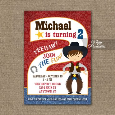 2nd Birthday Invitation - Cowboy Birthday Invitation