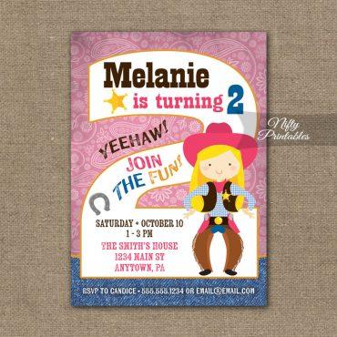 2nd Birthday Invitation - Cowgirl Birthday Invitation