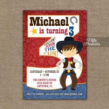 3rd Birthday Invitation - Cowboy Birthday Invitation