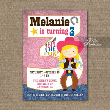3rd Birthday Invitation - Cowgirl Birthday Invitation