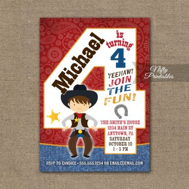 4th Birthday Invitation - Cowboy Birthday Invitation