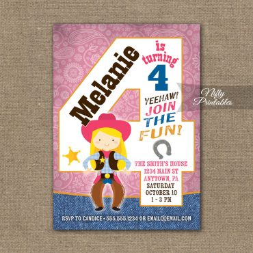 4th Birthday Invitation - Cowgirl Birthday Invitation