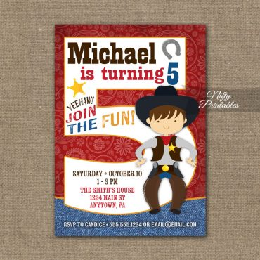 5th Birthday Invitation - Cowboy Birthday Invitation