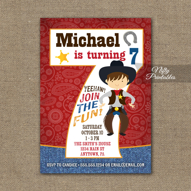 7th Birthday Invitation Cowboy Birthday Invitation Nifty Printables