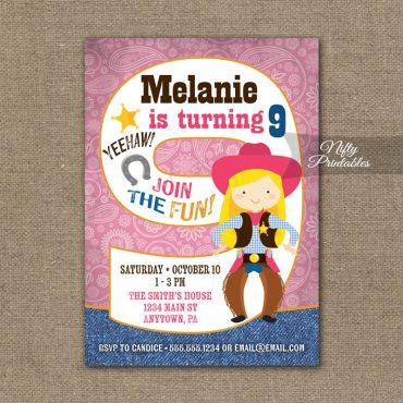 9th Birthday Invitation - Cowgirl Birthday Invitation