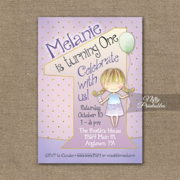 1st Birthday Invitation - Balloon Girl Birthday Invitation