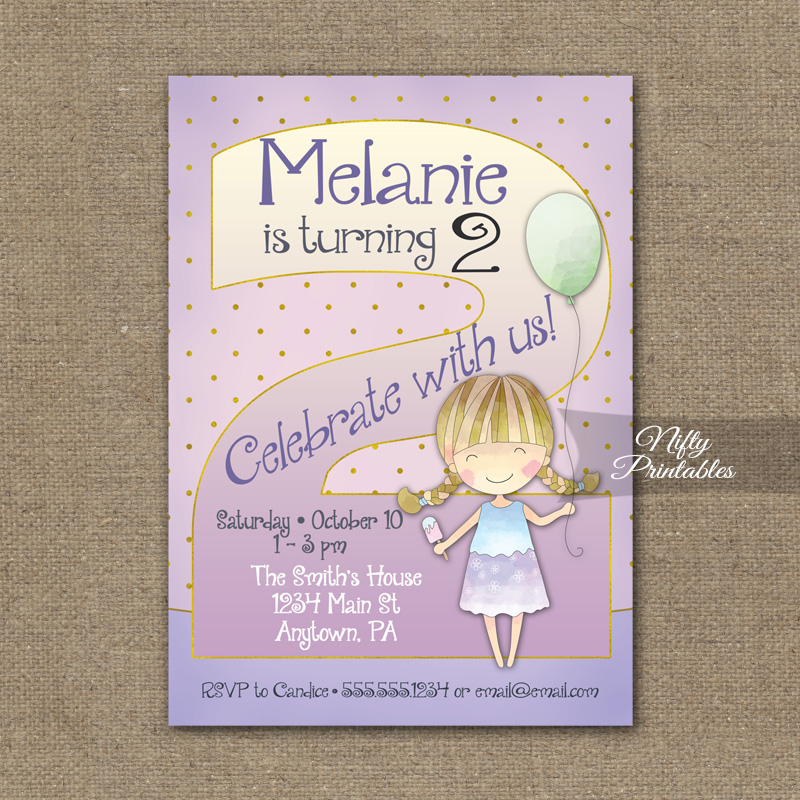 2nd Birthday Invitation Balloon Girl