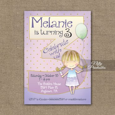 3rd Birthday Invitation - Balloon Girl Birthday Invitation
