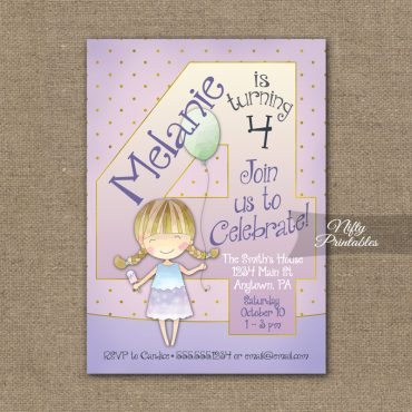 4th Birthday Invitation - Balloon Girl Birthday Invitation