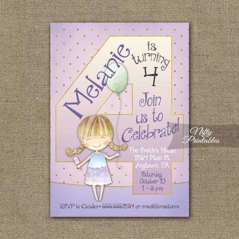 4th Birthday Invitation Balloon Girl