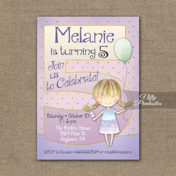 5th Birthday Invitation - Balloon Girl Birthday Invitation