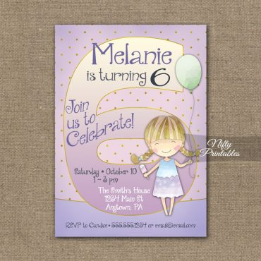 6th Birthday Invitation - Balloon Girl Birthday Invitation