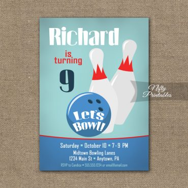 Bowling Birthday Invitation - Bowling Party Invite