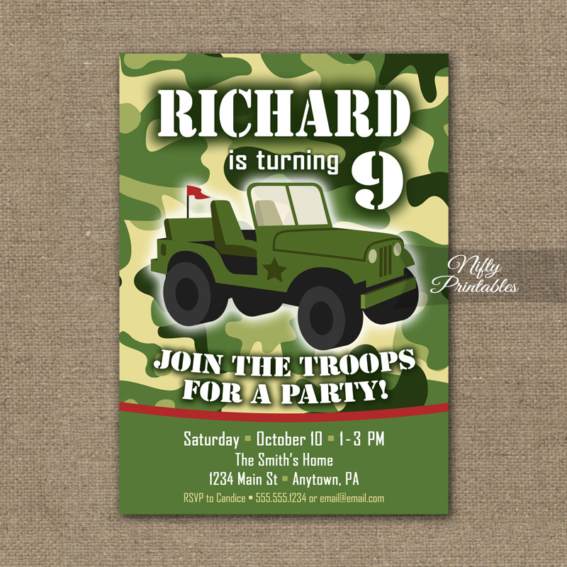 Camo Birthday Invitation
