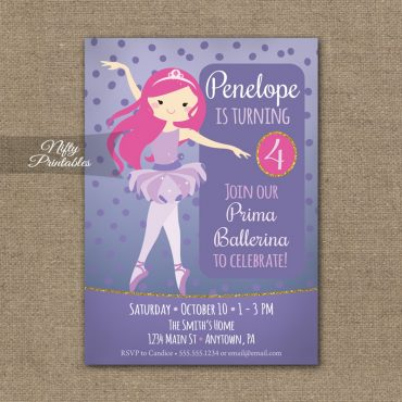 Ballet Birthday Invitation - Ballerina Party Invite