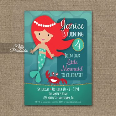 Mermaid Birthday Invitation - Mermaid Party Invite