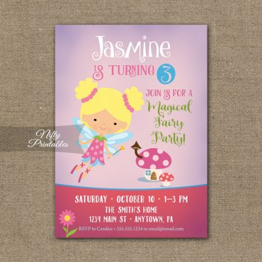 Fairy Birthday Invitation - Pink Purple Fairy Invite