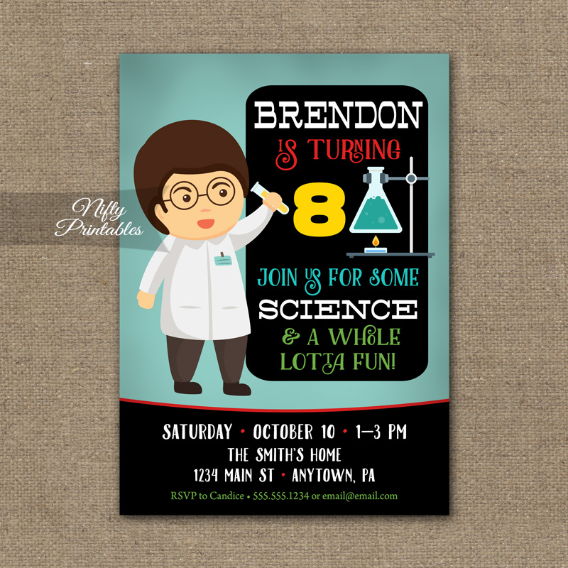 Science Party Invitation Science Birthday Invitation Nifty