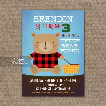 Teddy Bear Birthday Invitation - Teddy Bear Picnic Invite