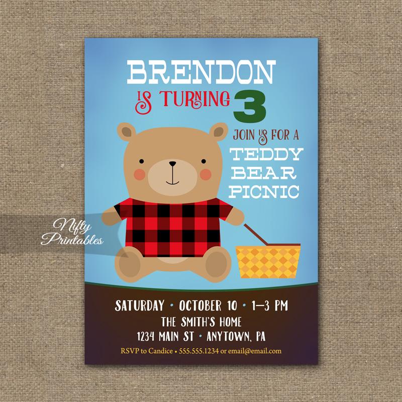 Teddy Bear Birthday Invitation Picnic Invite