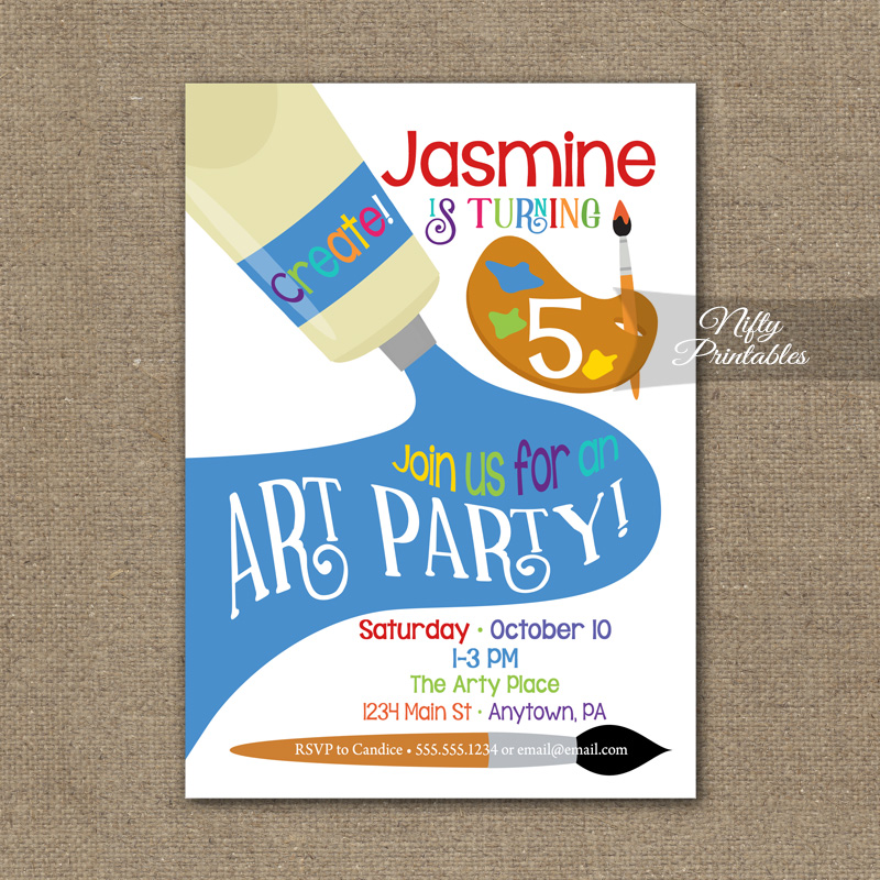 Art party invitation paint party birthday invitations nifty art party invitation paint party birthday invitations stopboris