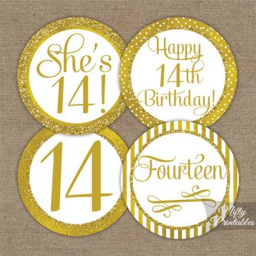14th Birthday Toppers - Gold Cupcake Toppers