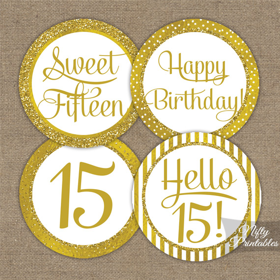 15th Birthday Toppers - Gold Cupcake Toppers