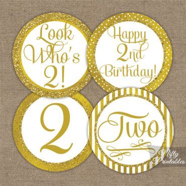 2nd Birthday Toppers - Gold Cupcake Toppers