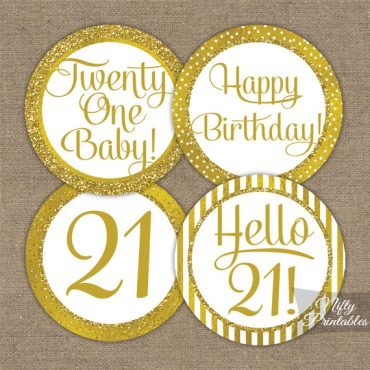 21st Birthday Toppers - Gold Cupcake Toppers