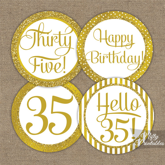 35th Birthday Toppers - Gold Cupcake Toppers